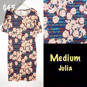 NWT LuLaRoe Medium Julia Dress Floral Stripe